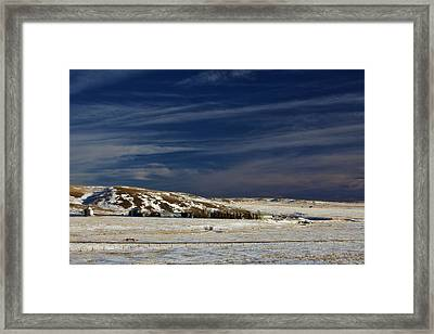 Farm At Bottom Of Hill In Winter Framed Print by Roberta Murray