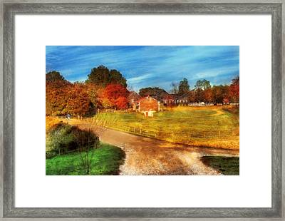 Farm - Barn -  A Walk In The Country Framed Print by Mike Savad
