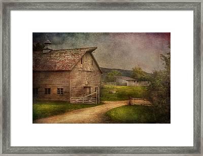 Farm - Barn - The Old Gray Barn  Framed Print by Mike Savad