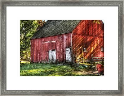 Farm - Barn - The Old Red Barn Framed Print by Mike Savad