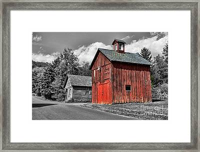 Farm - Barn - Weathered Red Barn Framed Print by Paul Ward