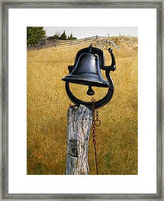 Framed Print featuring the painting Farm Bell by Tom Wooldridge