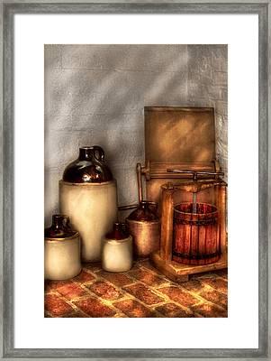 Farm - Bottles - Let's Make Some  Apple Juice Framed Print by Mike Savad