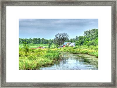 Farm By Creek Framed Print by Paul Freidlund