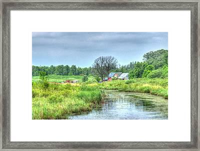 Farm By Creek Framed Print by Paul Freidlund
