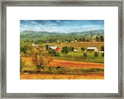 Farm - Cow - Cows Grazing Framed Print by Mike Savad