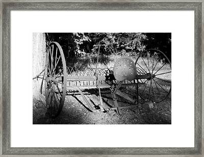 Farm Equipment Bw Framed Print by Mary Bedy