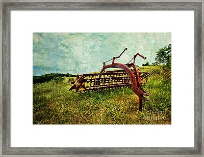 Farm Equipment In A Field Framed Print by Amy Cicconi