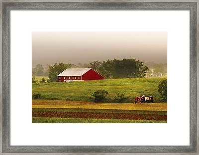 Farm - Farmer - Tilling The Fields Framed Print