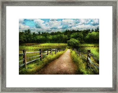 Farm - Fence - Every Journey Starts With A Path  Framed Print by Mike Savad