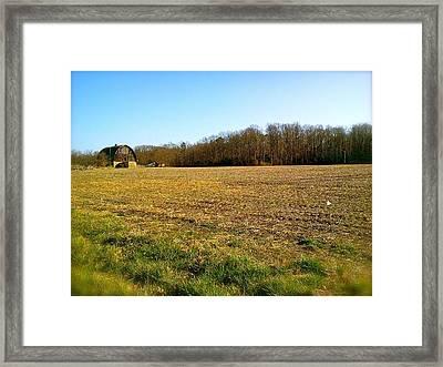 Farm Field With Old Barn Framed Print
