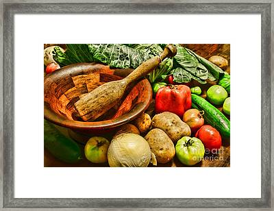 Farm Fresh Food In A Country Kitchen Framed Print by Paul Ward