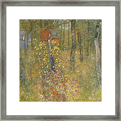 Farm Garden With Crucifix Framed Print