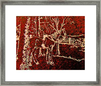 Framed Print featuring the drawing Farm Horse by Larry Campbell