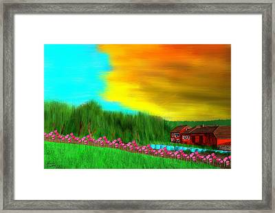 Farm In Norway At Sunset With Tulips Framed Print