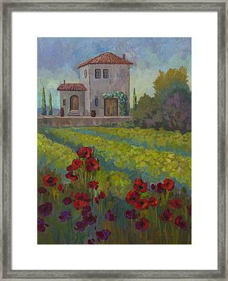 Farm In Sienna Framed Print by Diane McClary
