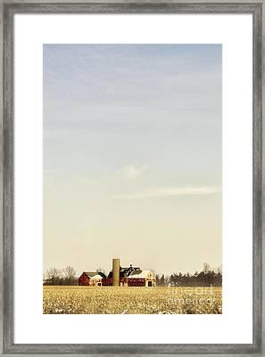 Farm In Winter Field Framed Print by Margie Hurwich