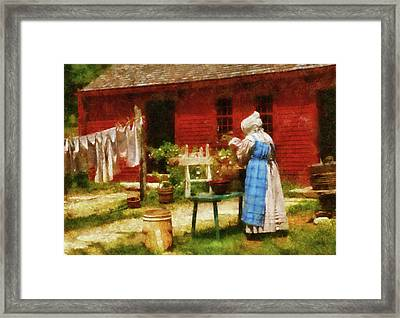 Farm - Laundry - Washing Clothes Framed Print by Mike Savad