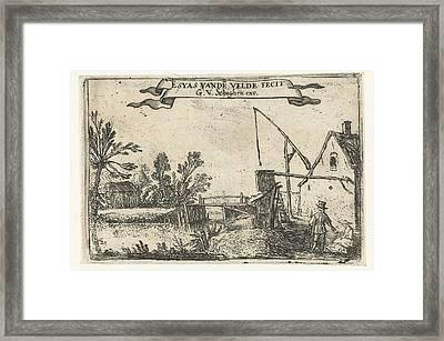 Farm Near A Channel, Esaias Van De Velde Framed Print by Esaias Van De Velde