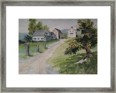 Framed Print featuring the painting Farm On Orchard Hill by Joy Nichols