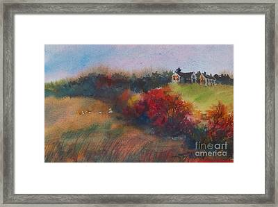 Framed Print featuring the painting Farm On The Hill At Sunset by Joy Nichols