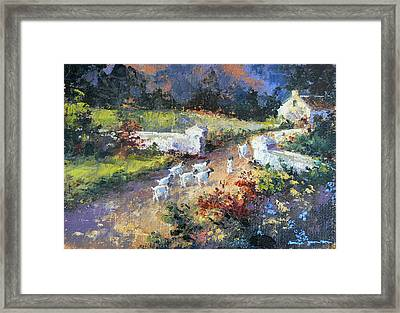 Farm Scene With Goats I Framed Print