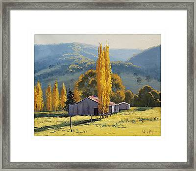 Farm Sheds Painting Framed Print by Graham Gercken