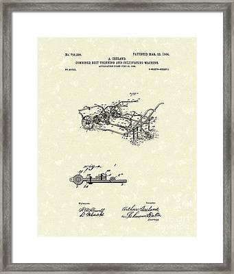 Farm Tool 1904 Patent Art Framed Print by Prior Art Design