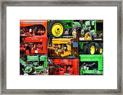 Farm Tractor Collage Rectangle Framed Print by Thomas Woolworth