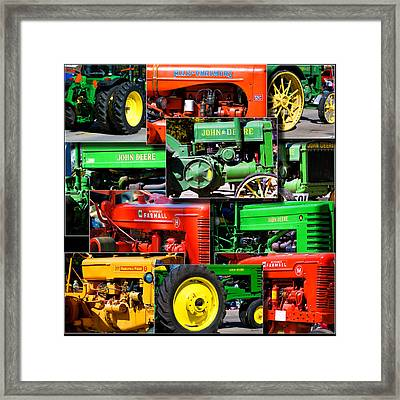 Farm Tractor Collage Square Framed Print by Thomas Woolworth