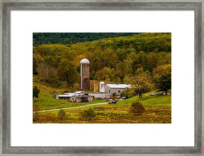 Farm View With Mountains Landscape Framed Print by Alex Grichenko