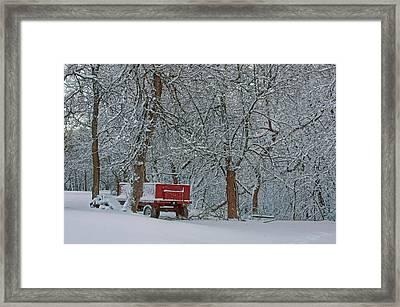 Farm Wagon In Winter Framed Print