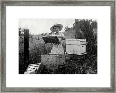 Farm Wife Beekeeper 19th Century Framed Print