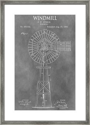 Farm Windmill Patent Framed Print
