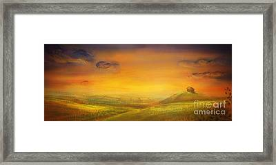 Farm With Crops - Original Painting Framed Print by Mythja  Photography