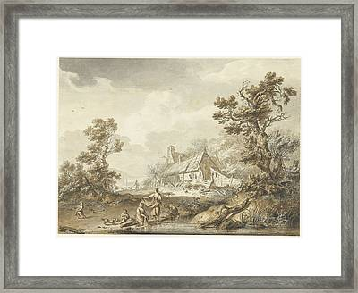 Farm With On The Foreground Washing Women Framed Print
