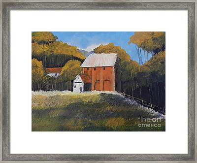 Framed Print featuring the painting Farm With Red Barn by Pamela  Meredith