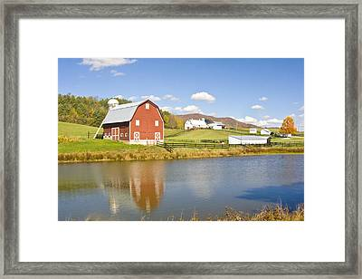 Framed Print featuring the photograph Farm With Red Barn by Robert Camp