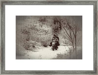 Farm Workers Riding On One Motorbike Framed Print