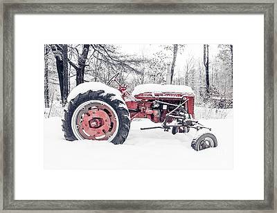 Farmall Super C Tractor In Winter Framed Print