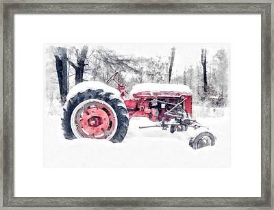 Farmall Super C Tractor In Winter Watercolor Framed Print