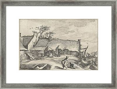 Farmer And Peasant Woman At A Farm Framed Print by Claes Jansz. Visscher Ii And Abraham Bloemaert And Boetius Adamsz. Bolswert