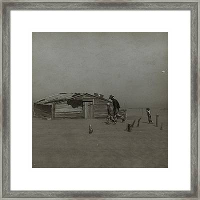 Farmer And Sons Walking In The Face Of A Dust Storm Framed Print by Historic Photos