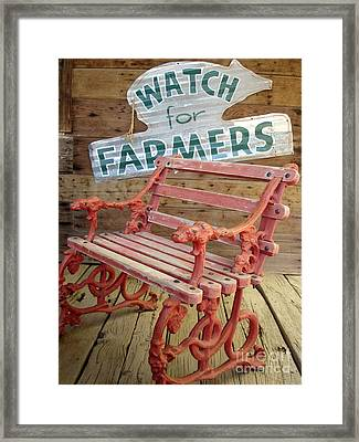 Farmer Bench Framed Print by Kerri Mortenson