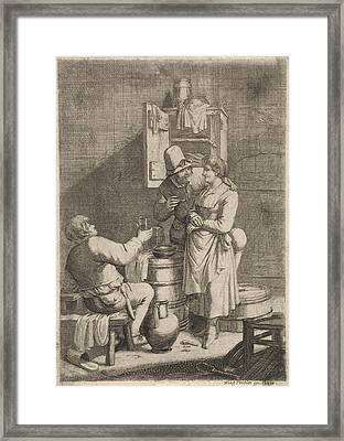 Farmer Couple And A Man With A Glass, Print Maker Justus Framed Print by Justus Van Den Nijpoort And Franz Prechler