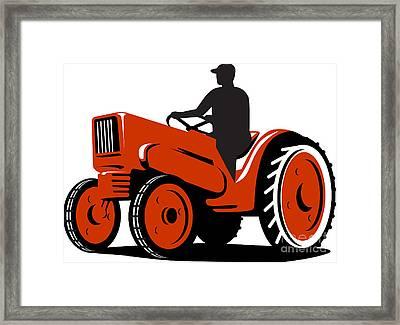 Farmer Driving Vintage Tractor Retro Framed Print by Aloysius Patrimonio