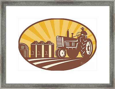 Farmer Driving Vintage Tractor Retro Woodcut Framed Print by Aloysius Patrimonio