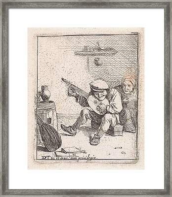 Farmer Plays The Lute, Anonymous, David Teniers II Framed Print by David Teniers (ii)