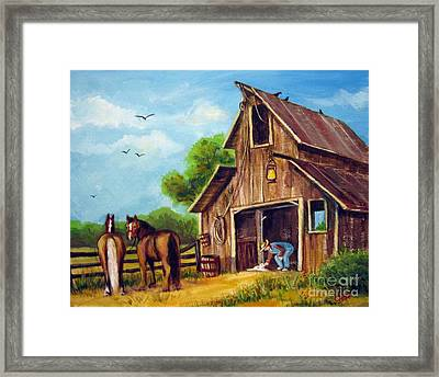 Farmer Scene Framed Print