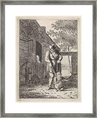 Farmer With Child Leash, Johannes Christiaan Janson Framed Print by Johannes Christiaan Janson And Christina Chalon